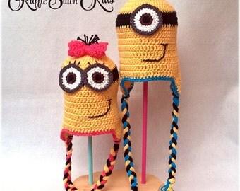 Custom Handmade Crochet Minion Inspired Earflap Hat Newborn-Adult
