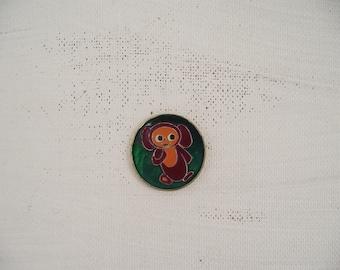Rare soviet children's pin-back badge Cheburashka. Made in the USSR.