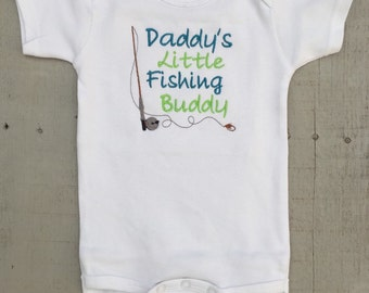 Fishing Onesie, Daddy's Little Fishing Buddy, baby boy embroidered onesie