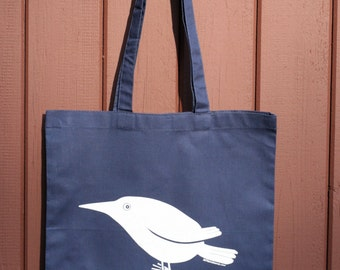 bird tote bag - white bird tote bag - worried bird tote bag - bird bag - blue bag - white bird bag - bird tote - blue bag white bird