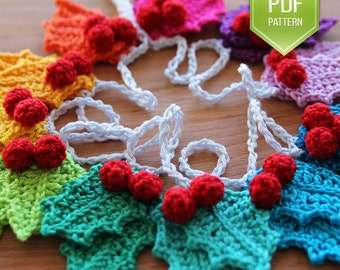PDF crochet pattern Rainbow holly Garland - instant download - Christmas garland - holly ornaments