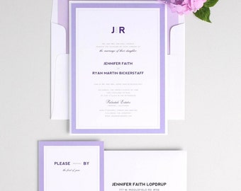 Amethyst Wedding Invitation - Unique, Romantic Wedding Invites - Lilac, Purple, Ombre, Modern Initials Wedding Invitations - Deposit