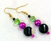 Black, Pink & Lime Green Earrings - Beaded Dangle Earrings, Rockabilly Style, Nickle-Free Ear Wires, Handmade in the USA, Ready to Ship