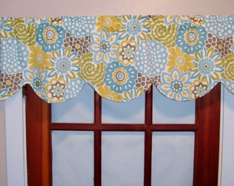 Lined Waverly Pom Pom Play or Button Blooms Window Valance, Blue, Yellow, Scalloped OR Straight Valance, Kitchen, Bedroom Valance