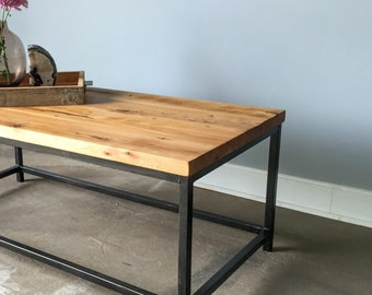 Industrial Coffee Table / Reclaimed Wood + Steel Box Frame Base Coffee Table