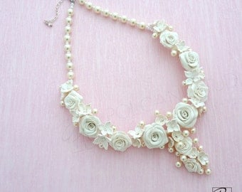 Wedding Necklace Off White Floral Necklace Handmade, Bridal Statement Necklace, Love, Romantic , Roses, Pearls. Ready to ship.