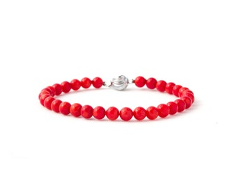 Red Coral Bracelet/ Coral Bead Bracelet/ Genuine Coral Beads/ Tiny Coral Bracelet/ Red Friendship Bracelet