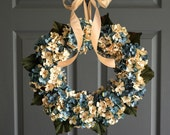Blue Blended Hydrangea Wreath   Front Door Wreaths   Aqua Blue and Cream Hydrangeas   Summer Wreath   Lake House Beach Decor   Spring Wreath