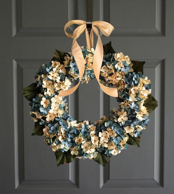 Blue Blended Hydrangea Wreath | Front Door Wreaths | Aqua Blue and Cream Hydrangeas | Summer Wreath | Lake House Beach Decor | Door Wreath