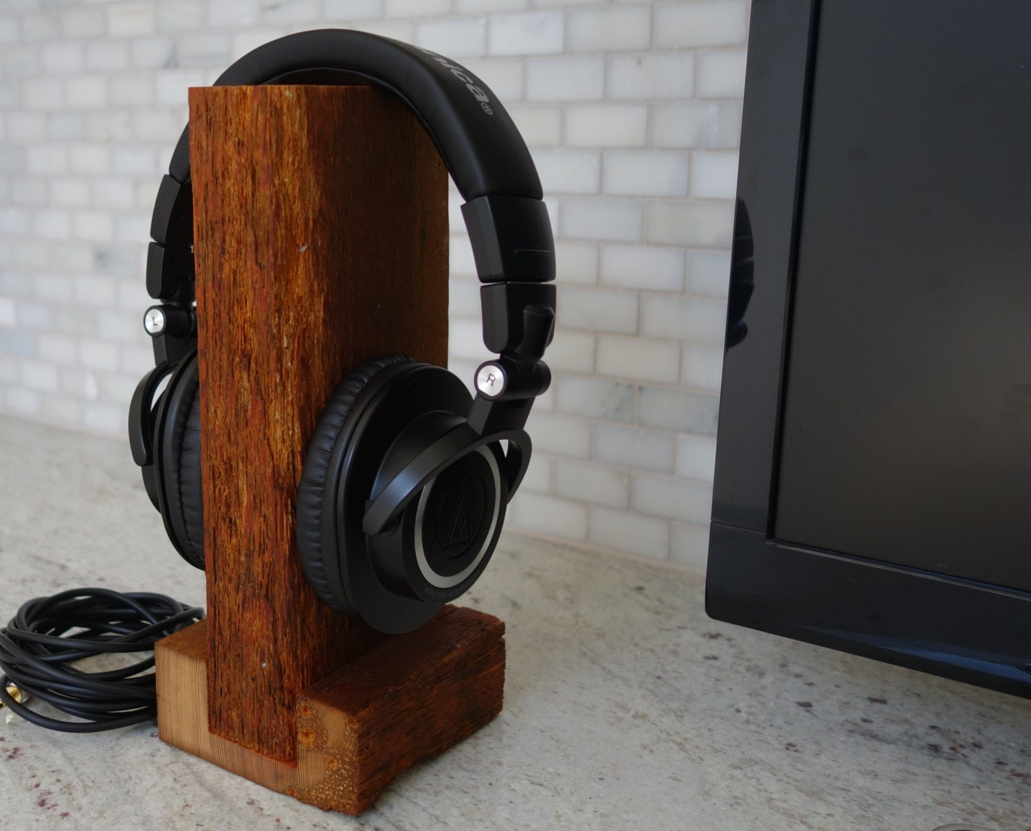 Headphone Stand Designs : Handmade wood headset stand the rustic unique