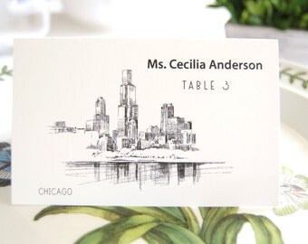 Chicago Skyline Place Cards Personalized with Guests Names (Sold in sets of 25 Cards)