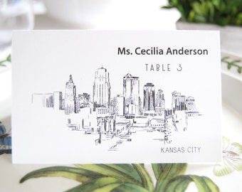 Kansas City Skyline Place Cards Personalized with Guests Names(Sold in sets of 25 Cards)