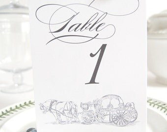 Disney Fairytale Wedding Carriage Skyline Table Numbers (1-10)