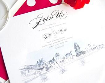 Cincinnati Skyline with Stadium and Bridge Rehearsal Dinner Invitations (set of 25 cards)