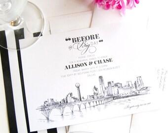 Dallas View with Bridge Skyline Weddings Rehearsal Dinner Invitations (set of 25 cards)