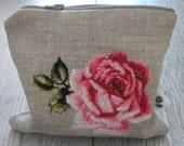 Purse, Linen, Pencil Case, Rose