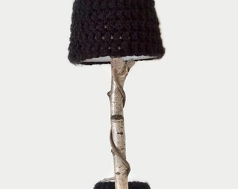 Lamp with tree branch from birch and crochet lampshade - natural interior