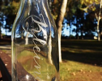Custom Etched Glass Carafe Decanter