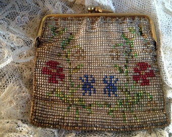 Antique-Vintage Glass Hand Beaded Coin Purse