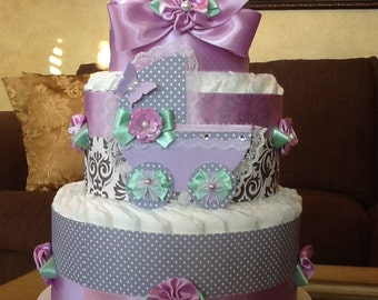 Baby girl diaper cake/Light purple/Lavender and grey and mint diaper cake/Carriage diaper cake/centerpiece/baby shower gift