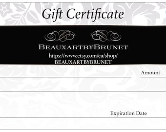 Gift Certificate for a personalized custom painting