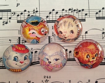 Set of 5 Glass Magnets, Fridge Magnets, Cute Animals