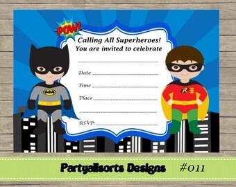 DIY - FILL IN Yourself Superhero Batman and Robin Invitations