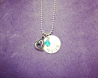 Nana personalized necklace with birthstone and heart charm.