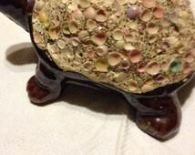 Turtle Bank, redware, Japan, has labels, Florida souvenir, pastel shells, collectible , decorative pottery