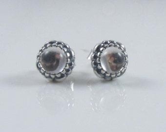 new Authentic Genuine Pandora Silver April Birthstone Stud Earrings 290543BK NEW