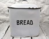 Authentic English Vintage Enamelware Bread Storage Box White Enamel Bread Bin