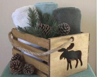 Wood Crate Rustic Moose Crate North Woods Decor Handmade Rustic Basket With Rope Handle