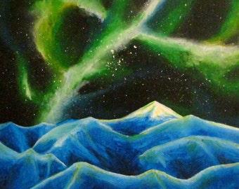 Original Art Mountain Landscape Night Sky Milky Way Galaxy Nebula Northern Lights Acrylic Painting Aurora Borealis