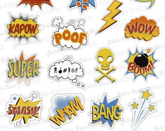 Set of 19 Comic Book Superhero Phrases Stickers