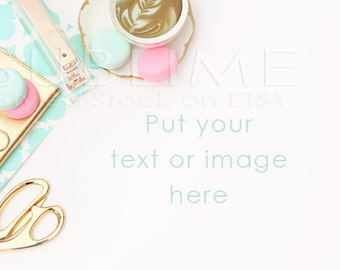 Styled Stock Photography / Styled Desktop  / Blog Background / Macaroons / Gold Desk / JPEG Digital Image / StockStyle-522