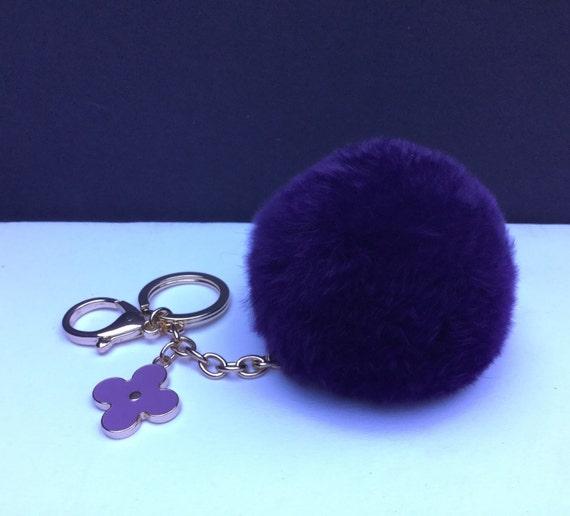 pom perfect deep purple rex rabbit fur pom pom by yogastudio55. Black Bedroom Furniture Sets. Home Design Ideas