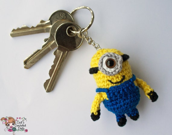 Crocheted Despicable Me Minion keychain by CaitsCrochetedDolls