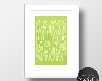Cookery terms print (Made to order)