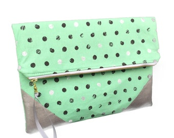 Mint green clutch, australian made clutch, strapless bag, large fold over clutch, spotty clutch, spotty pouch, faux leather detail
