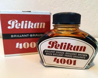 Vintage Pelikan Brown Ink Germany Full Bottle in Box