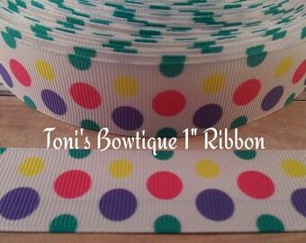 "fun bright dots print 7/8"" Grosgrain Ribbon, Ribbon by the Yard, craft supply, hairbow supply, lanyard supply, dog collar supply"