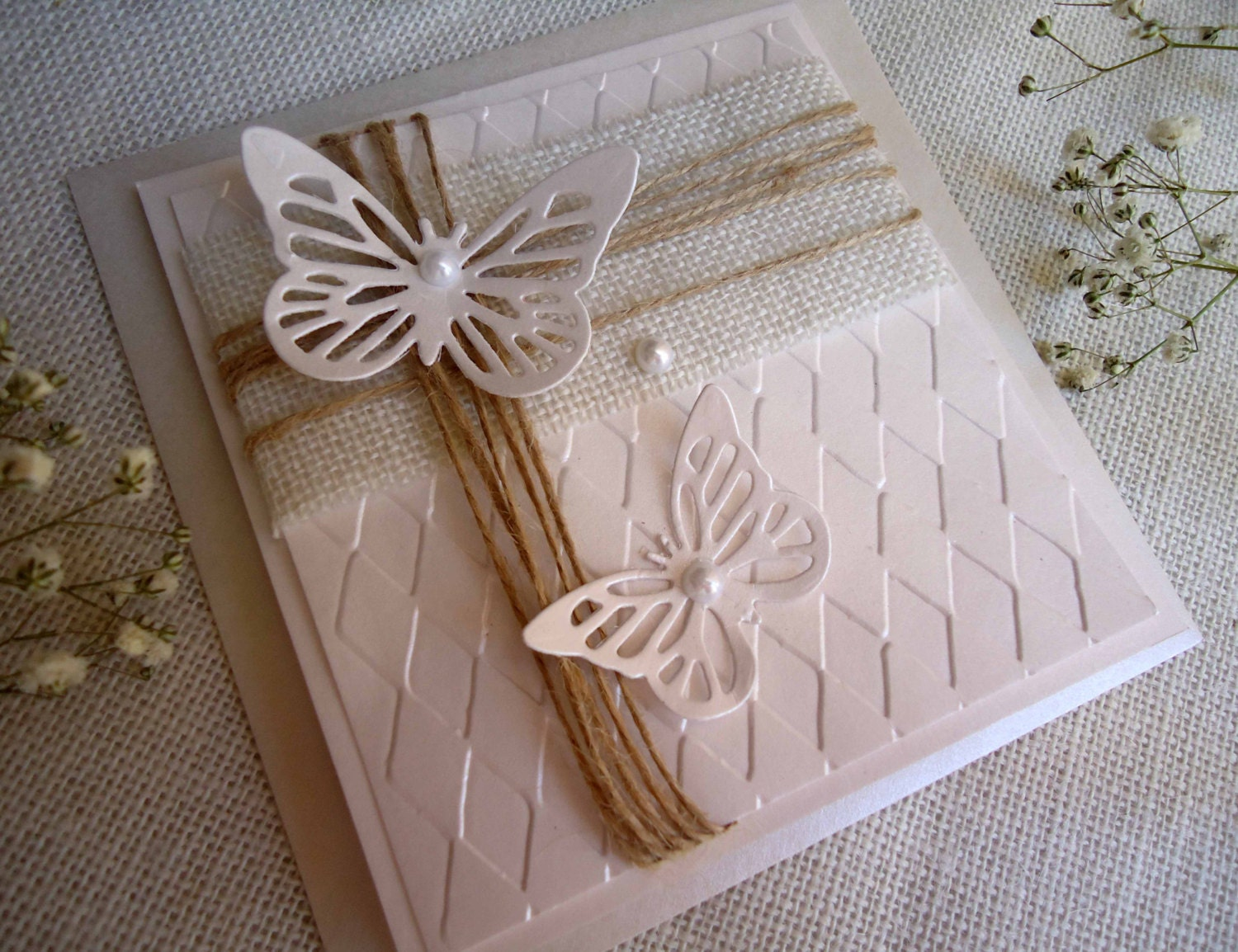 Wedding Invitations With Burlap: Butterfly Wedding Invitations Burlap Wedding Invitations DIY