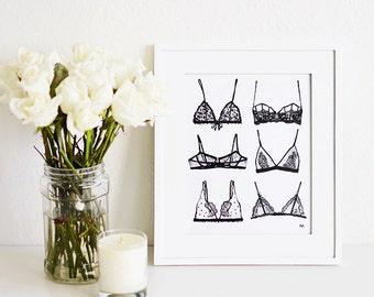 Lingerie wall art. Print of my Original illustration with Ink and watercolor.