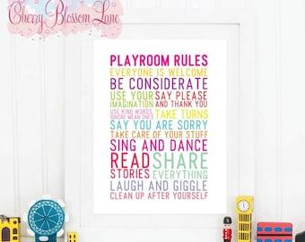 Wall Art Print - Playroom rules - Free Shipping