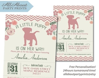 Puppy Birthday Invitation card printable -Turnaround time 24 hours!