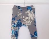 Baby harem pants / girls floral harem pants / toddler harem pants / kids harem pants / grey & blue jersey harem  - skinny leg fit