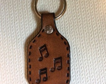 music, music notes, Key fob, key ring, leather key fob, leather key ring, leather music notes keyring, genuine leather, music keychain, note