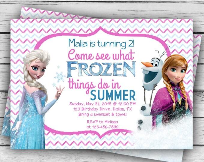 Chevron Elsa, Anna, Olaf FROZEN BIRTHDAY INVITATION & Thank You Card, Frozen Birthday Invitation, Girl Birthday, Birthday Party
