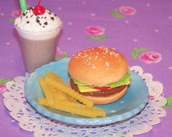 """Cheeseburger Lunch - doll food - sized for 18"""" dolls like American Girl"""