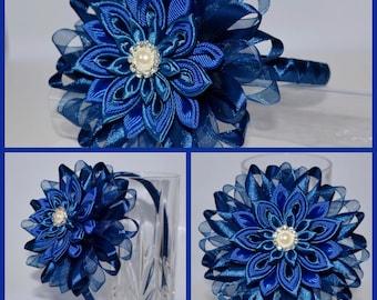 Handmade Girl's Navy Party Headband/Clip, Kanzashi Style, Christening/Wedding/Romany/School